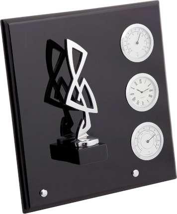 """Плакетка """"Скрипичный ключ"""", часы, термометр, гигрометр, Linea del Tempo, цвет чёрный, серебряный, (S03SBL)"""