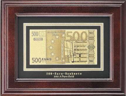 """Панно """"500 евро"""" в деревянной прямоугольной раме"""