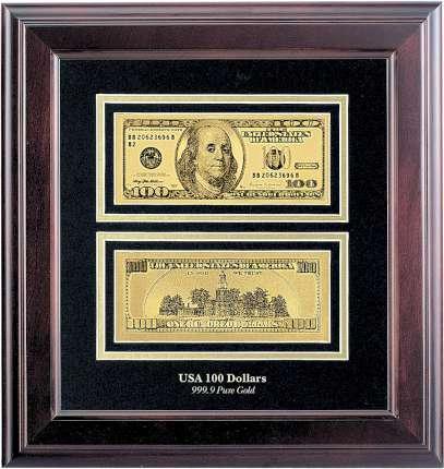 """Панно """"100 долларов"""" в деревянной квадратной раме"""