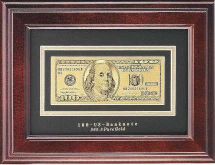 """Панно """"100 долларов"""" в деревянной прямоугольной раме"""