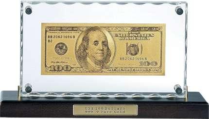 """Сувенир настольный """"100 долларов"""" на деревянной подставке"""
